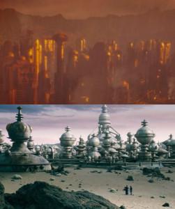Skaro as last seen in Asylum of the Daleks (top) and Skaro today