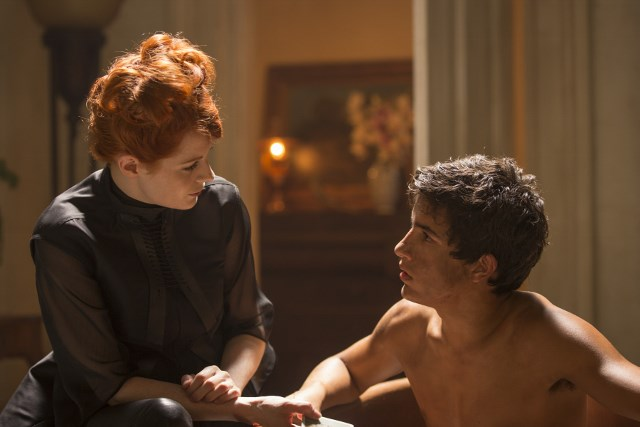 Emily Beecham as The Widow and Aramis Knight as M.K. - Into the Badlands _ Season 1, Epsiode 2 - Photo Credit: Patti Perret/AMC