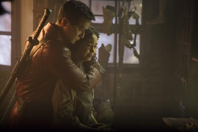 Daniel Wu as Sunny and Madeleine Mantock as Veil - Into the Badlands _ Season 1, Epsiode 2 - Photo Credit: Patti Perret/AMC