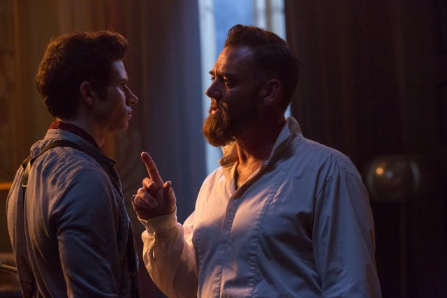 Marton Csokas as Quinn and Oliver Stark as Ryder - Into the Badlands _ Season 1, Episode 4 - Photo Credit: Hilary Bronwyn Gayle/AMC