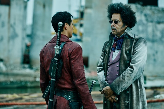 Daniel Wu as Sunny and Lance Nichols as River King - Into the Badlands _ Season 1, Episode 4 - Photo Credit: James Minchin III/AMC