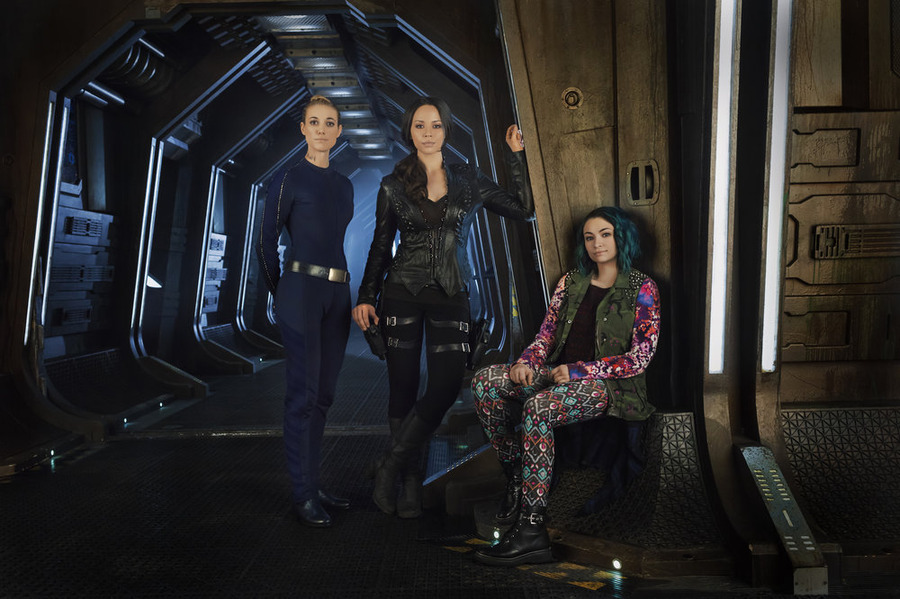 DARK MATTER -- Season:1 -- Pictured: (l-r) Zoie Palmer as The Android, Melissa O'Neil as Two, Jodelle Ferland as Five -- (Photo by: Dennys/Ilic/Syfy)