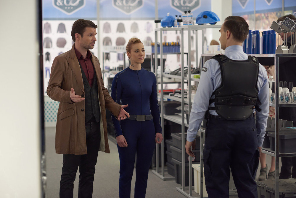 "DARK MATTER -- ""We Were Family"" Episode 204 -- Pictured: Zoie Palmer as The Android -- (Photo by: Russ Martin/Prodigy Pictures/Syfy)"