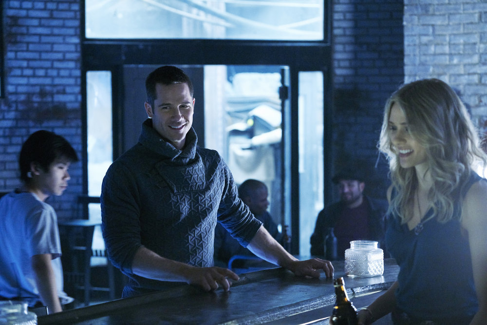 "KILLJOYS -- ""Meet The Parents"" Episode 205 -- Pictured: (l-r) Luke Macfarlane as D'avin, Tori Anderson as Sabine -- (Photo by: Steve Wilkie/Syfy/Killjoys II Productions Limited)"