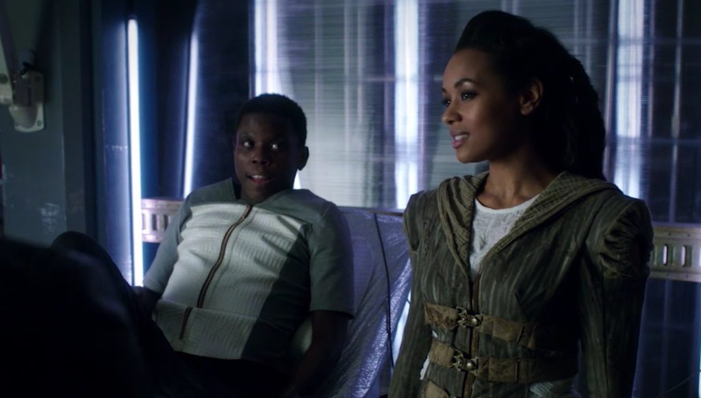 """DARK MATTER -- """"We Should Have Seen This Coming"""" Episode 206 -- Pictured l-r: Mpho Koaho as Milo and Melanie Liburd as Nyx"""
