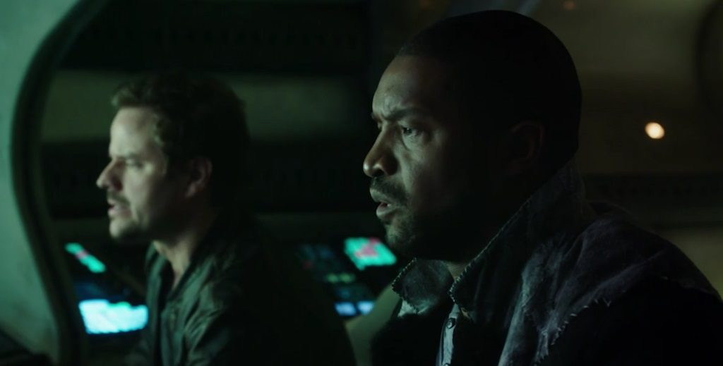 """DARK MATTER -- """"We Should Have Seen This Coming"""" Episode 206 -- Pictured: (l-r), Anthony Lemke as Three and Roger Cross as Six/Kal Varrick"""