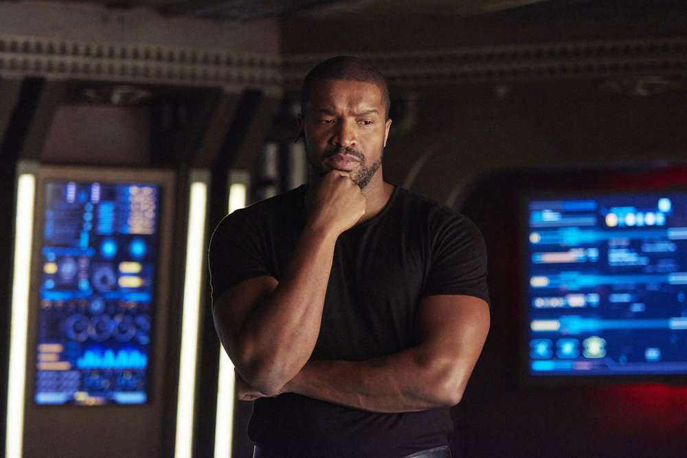 """DARK MATTER -- """"She's One of Them Now"""" Episode 207 -- Pictured:  Roger Cross as Six -- (Photo by: Russ Martin/Prodigy Pictures/Syfy)"""