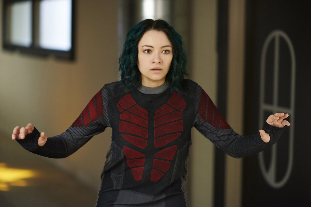 """DARK MATTER -- """"She's One of Them Now"""" Episode 207 -- Pictured: Jodelle Ferland as Five -- (Photo by: Russ Martin/Prodigy Pictures/Syfy)"""