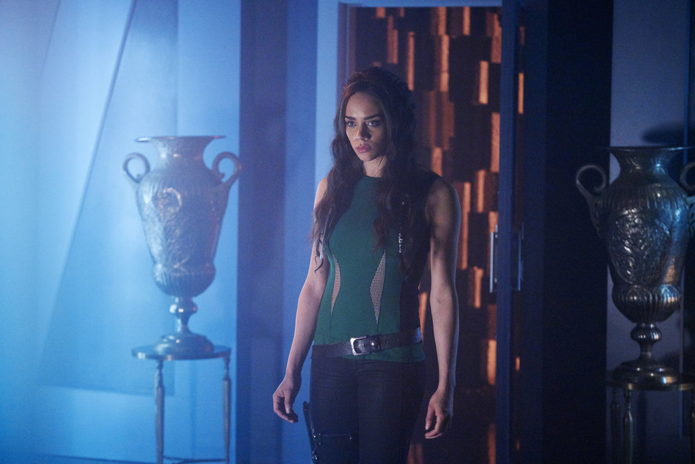 "KILLJOYS -- ""I Love Lucy"" Episode 206 -- Pictured: Hannah John-Kamen as Dutch -- (Photo by: Steve Wilkie/Syfy/Killjoys II Productions Limited)"