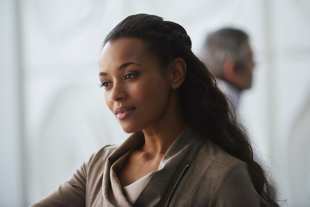 "DARK MATTER -- ""Going Out Fighting"" Episode 209 -- Pictured: Melanie Liburd as Nyx Harper -- (Photo by: Russ Martin/Prodigy Pictures/Syfy)"