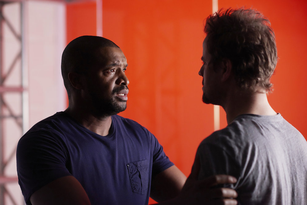 """DARK MATTER -- """"Going Out Fighting"""" Episode 209 -- Pictured:  (l-r) Roger Cross as Six, Anthony Lemke as Three -- (Photo by: Russ Martin/Prodigy Pictures/Syfy)"""