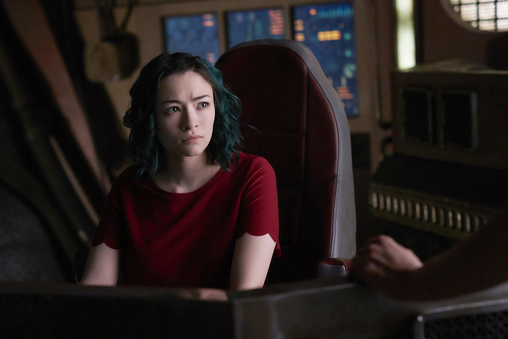 "DARK MATTER -- ""Take the Shot"" Episode 210 -- Pictured: Jodelle Ferland as Five -- (Photo by: Russ Martin/Prodigy Pictures/Syfy)"