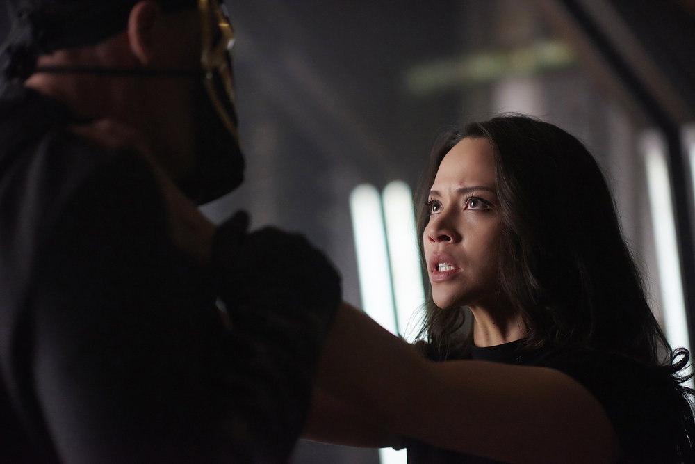 "DARK MATTER -- ""Take the Shot"" Episode 210 -- Pictured: Melissa O'Neil as Two -- (Photo by: Russ Martin/Prodigy Pictures/Syfy)"