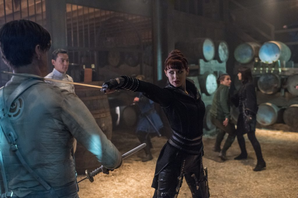 Daniel Wu as Sunny, Emily Beecham as The Widow, Ally Ioannides as Tilda, Aramis Knight as M.K.; group - Into the Badlands _ Season 2, Episode 8 - Photo Credit: Antony Platt/AMC