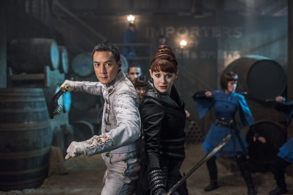 Daniel Wu as Sunny, Emily Beecham as The Widow, Aramis Knight as M.K., Ally Ioannides as Tilda - Into the Badlands _ Season 2, Episode 8 - Photo Credit: Antony Platt/AMC