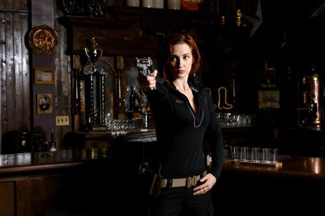 WYNONNA EARP -- Season:2 -- Pictured: Katherine Barrell as Nicole Haught -- (Photo by: Michelle Faye/Wynonna Earp