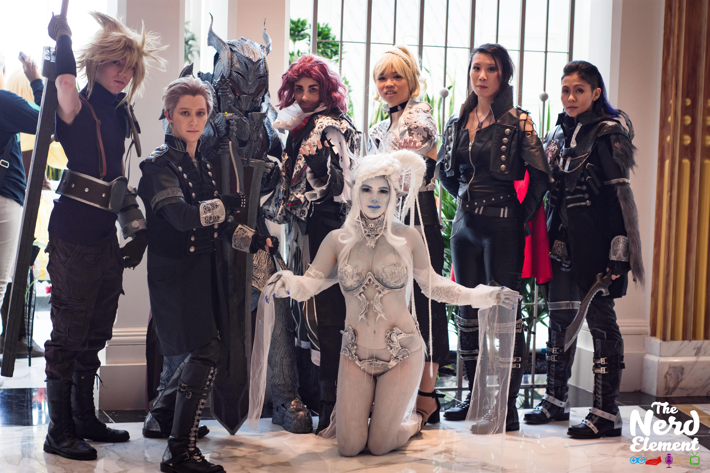 Final Fantasy VII/XV: Kingsglaive Group [L-R] Cloud Strife, Luche, General Glauca, Ardyn Izunia, Lunafreya Nox Fluret, Crowe Atlus, Nyx Ulric, and Shiva  Cosplayers: @a.punk.named.quinn, @chibidudecosplay, @jlsketch, @kaurawr, @sodoshi, @somaruyoh, @lacee_girl, and @bastetcg (All instagram handles)