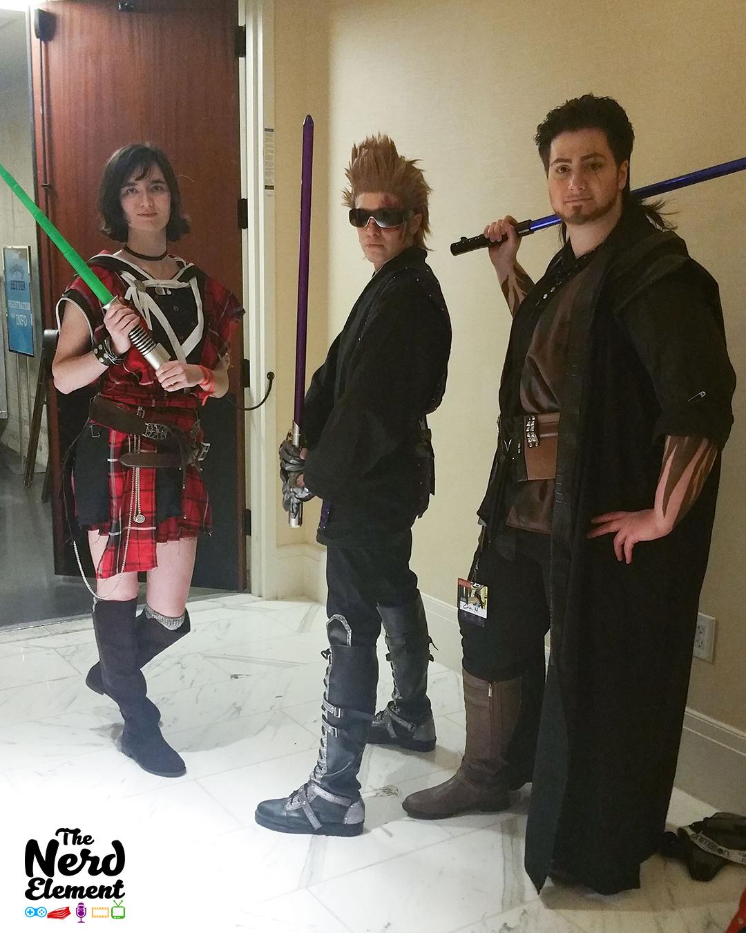 Jedi!Iris, Ignis, and Gladio (FFXV-SW mashup) Cosplayers: @kuewee (ig) @glasses.asshole (ig), and @varidian3 (ig)