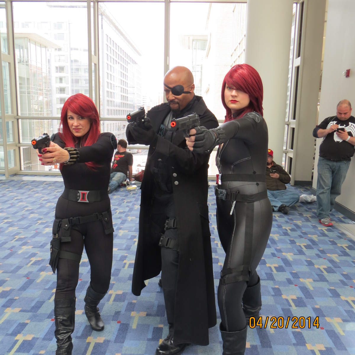 Teresa Holt, Black Widow (l), Eric Brooks, Nick Fury (r)
