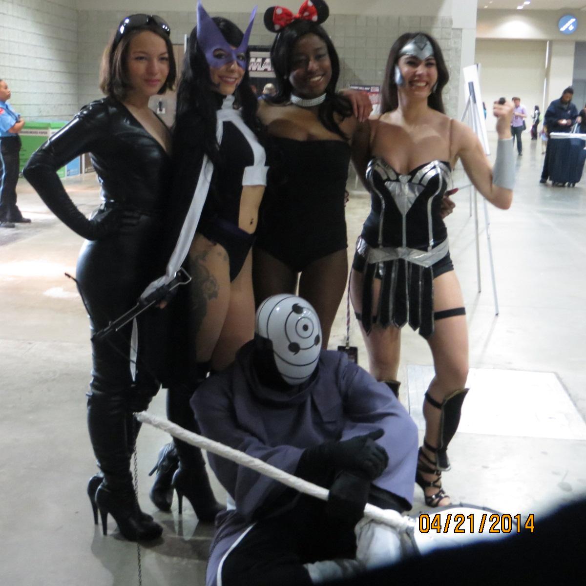 From Left: Ashley O, Catwoman; Nocile J, Huntress; Mercedes McGee, DJ Minnie Mouse; Christina P., Wonder Woman; John Babalola, Orbito (bottom)