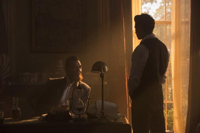 Marton Csokas as Quinn and Oliver Stark as Ryder - Into the Badlands _ Season 1, Episode 6 - Photo Credit: Hilary Bronwyn Gayle/AMC