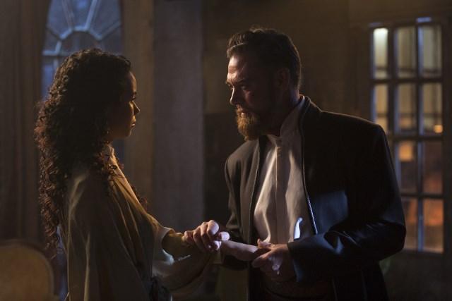 Marton Csokas as Quinn and Madeleine Mantock as Veil - Into the Badlands _ Season 1, Epsiode 3 - Photo Credit: Patti Perret/AMC