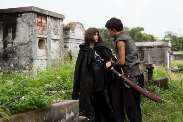 Aramis Knight as M.K. and Ally Ioannides as Tilda - Into the Badlands _ Season 1, Episode 4 - Photo Credit: Patti Perret/AMC