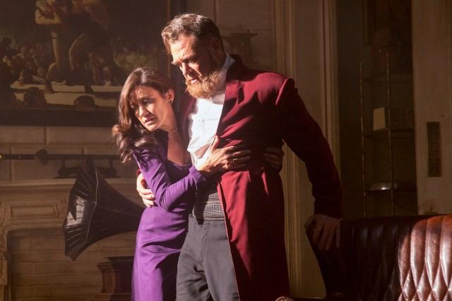 Orla Brady as Lydia and Marton Csokas as Quinn - Into the Badlands _ Season 1, Episode 5 - Photo Credit: Hilary Bronwyn Gayle/AMC