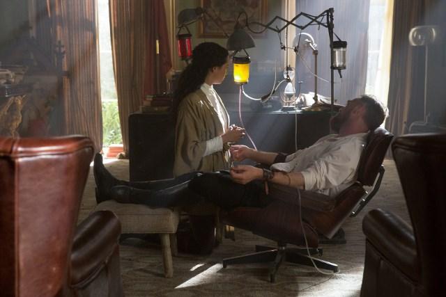 Madeleine Mantock as Veil and Marton Csokas as Quinn - Into the Badlands _ Season 1, Episode 5 - Photo Credit: Hilary Bronwyn Gayle/AMC