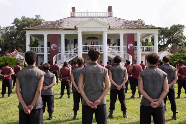 Orla Brady as Lydia, Sarah Bolger as Jade, and Marton Csokas as Quinn- Into the Badlands _ Season 1, Episode 5 - Photo Credit: Patti Perret/AMC