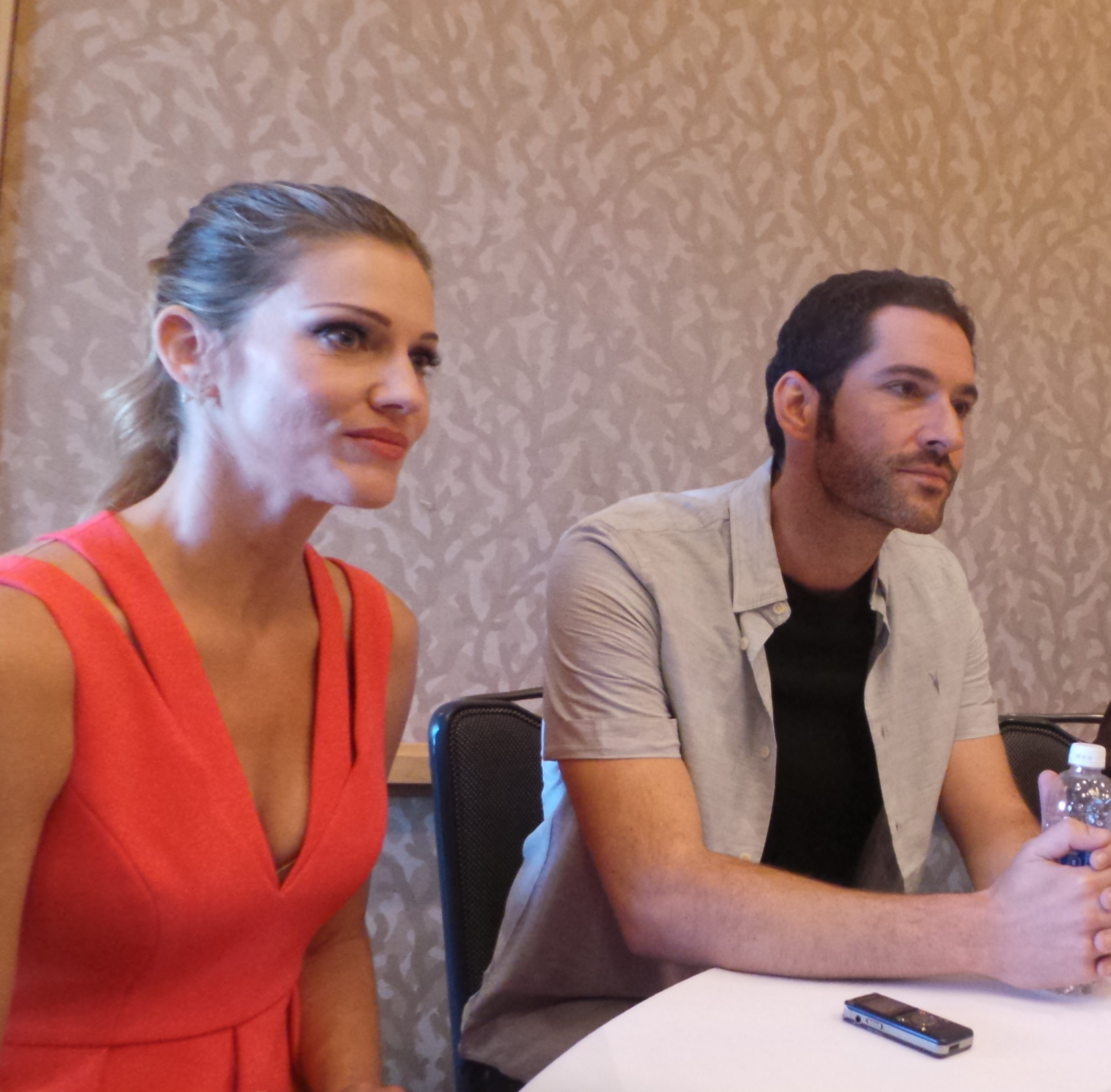 Tom Ellis (Lucifer Morningstar) and Tricia Helfer (will debut in season 2 as The Mother of Angels)