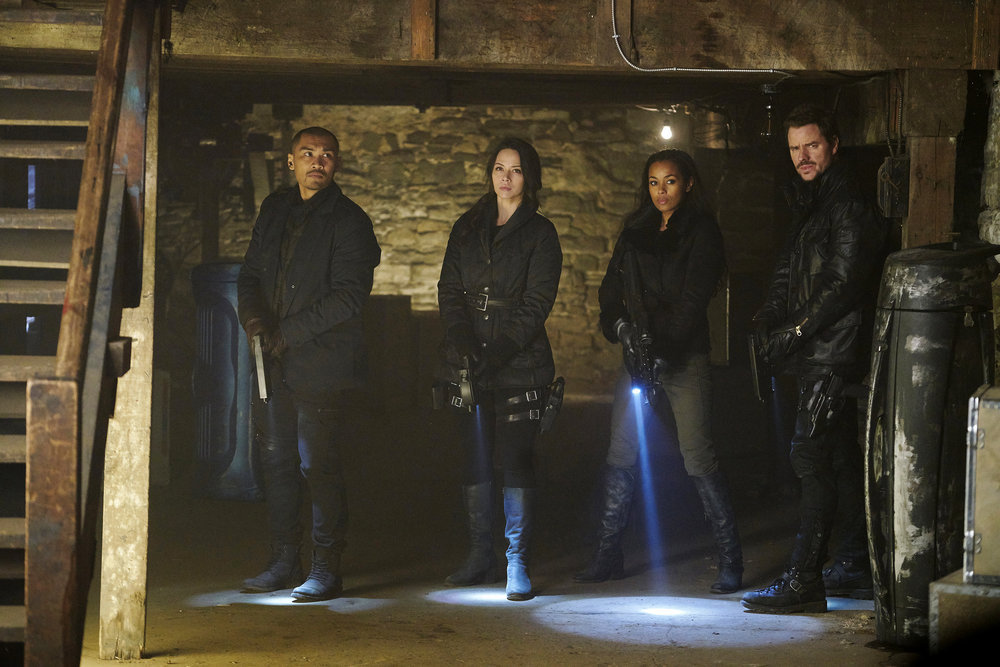 """DARK MATTER -- """"We Voted Not to Space You"""" Episode 205 -- Pictured: (l-r) Alex Mallari, Jr. as Four, Melissa O'Neil as Two, Melanie Liburd as Nyx, Anthony Lemke as Three -- (Photo by: Steve Wilkie/Prodigy Pictures/Syfy)"""