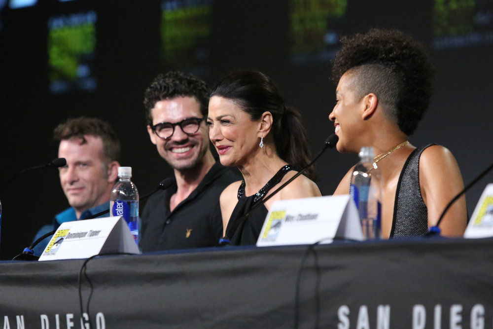 "COMIC-CON INTERNATIONAL: SAN DIEGO -- ""The Expanse Panel"" -- Pictured: (l-r) Thomas Jane, Steven Strait, Shohreh Aghdashloo, Dominique Tipper -- (Photo by: Evans Vestal Ward/Syfy)"