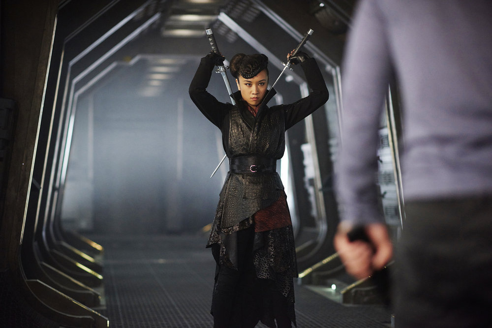 "DARK MATTER -- ""Take the Shot"" Episode 210 -- Pictured: Ellen Wong as Misaki Han-Shireikan -- (Photo by: Russ Martin/Prodigy Pictures/Syfy)"