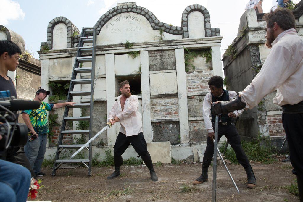 Marton Csokas as Quinn and Edi Gathegi as Jacobee- Into the Badlands _ Season 1, Episode 4 - Photo Credit: Hilary Bronwyn Gayle/AMC