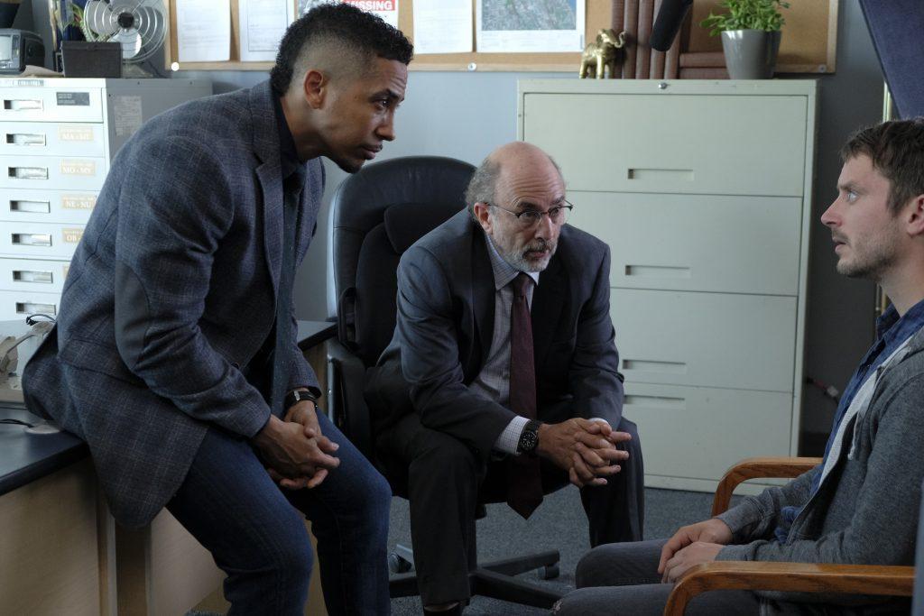 Dirk Gently's Holistic Detective Agency, Season 1, Episode 3, Estevez (Neil Brown Jr.), Zimmerfield (Richard Schiff) Photo by: David Dolsen photographer