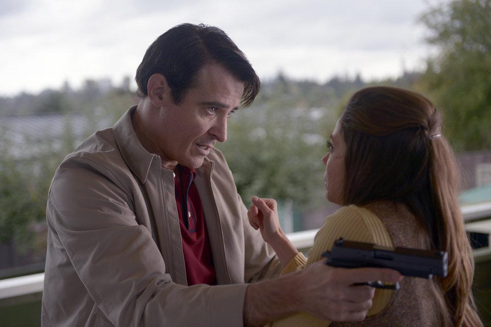 "TIMELESS -- ""Space Race"" Episode 107 -- Pictured: (l-r) Goran Visnjic as Garcia Flynn, Caitlin Carver as Maria -- (Photo by: Sergei Bachlakov/NBC)"