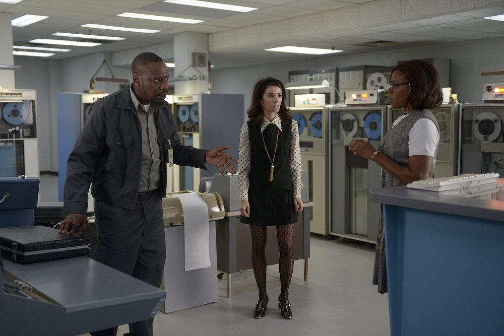 "TIMELESS -- ""Space Race"" Episode 107 -- Pictured: (l-r) Malcolm Barrett as Rufus Carlin, Abigail Spencer as Lucy Preston, Nadine Ellis as Katherine Johnson -- (Photo by: Sergei Bachlakov/NBC)"