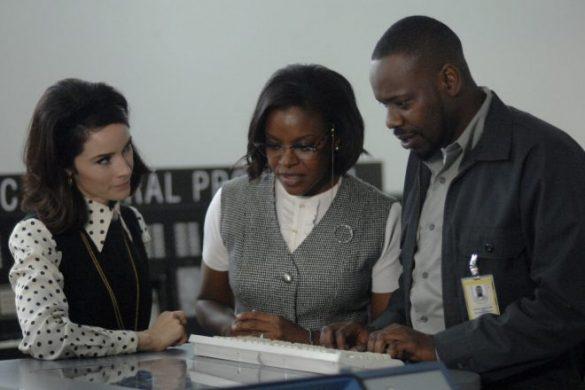 "TIMELESS -- ""Space Race"" Episode 107 -- Pictured: (l-r) Abigail Spencer as Lucy Preston, Nadine Ellis as Katherine Johnson, Malcolm Barrett as Rufus Carlin -- (Photo by: Sergei Bachlakov/NBC)"