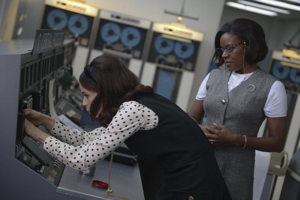 "TIMELESS -- ""Space Race"" Episode 107 -- Pictured: (l-r) Abigail Spencer as Lucy Preston, Nadine Ellis as Katherine Johnson -- (Photo by: Sergei Bachlakov/NBC)"