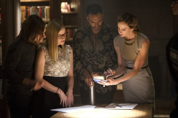 "THE MAGICIANS -- ""Hotel Spa Potions"" Episode 202 -- Pictured:  (l-r) Jason Ralph as Quentin, Olivia Taylor Dudley as Alice, Arjun Gupta as Penny, Anne Dudek as Prof. Pearl Sunderland -- (Photo by: Carole Segal/Syfy)"
