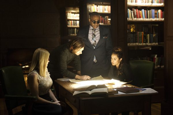 "THE MAGICIANS -- ""Hotel Spa Potions"" Episode 202 -- Pictured: (l-r) Olivia Taylor Dudley as Alice, Jason Ralph as Quentin, Rick Worthy as Dean Fogg, Summer Bishil as Margo -- (Photo by: Carole Segal/Syfy)"