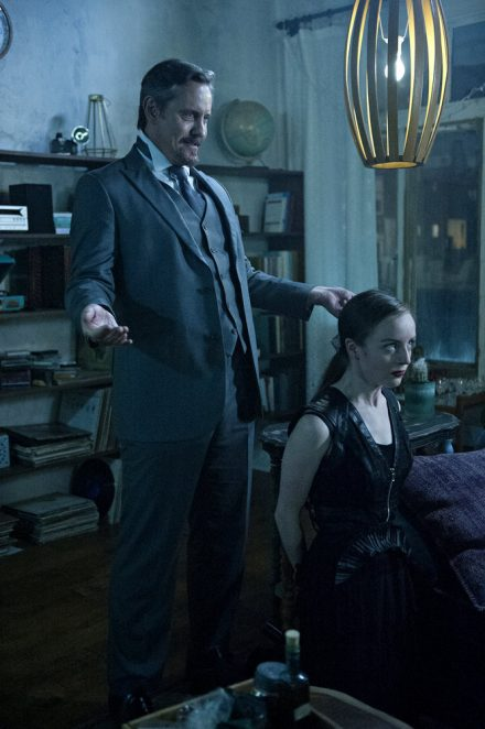 "THE MAGICIANS -- ""Hotel Spa Potions"" Episode 202 -- Pictured: (l-r) Charles Mesure as The Beast, Kacey Rohl as Marina -- (Photo by: Carole Segal/Syfy)"