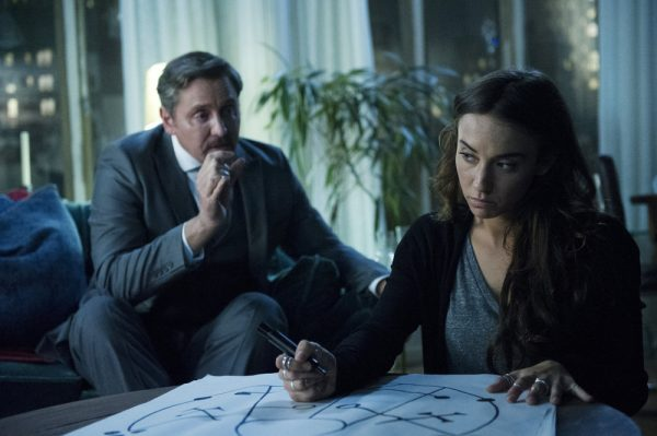"THE MAGICIANS -- ""Hotel Spa Potions"" Episode 202 -- Pictured: (l-r) Charles Mesure as The Beast, Stella Maeve as Julia -- (Photo by: Carole Segal/Syfy)"