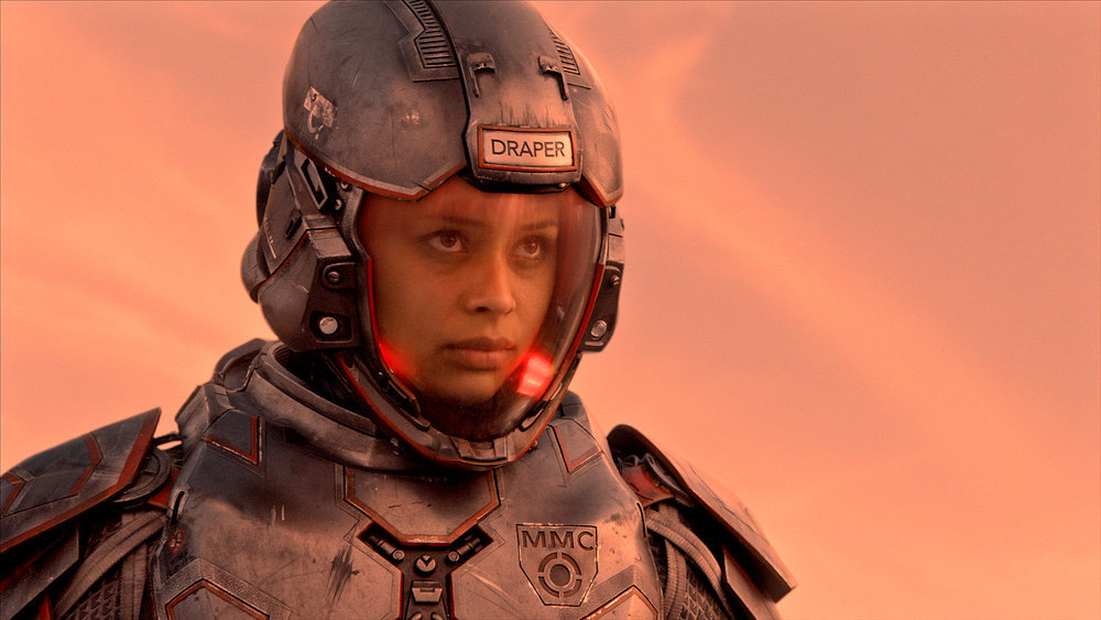 """THE EXPANSE -- """"Safe"""" Episode 201 -- Pictured: Frankie Adams as Bobbie Draper -- (Photo by: Syfy)"""