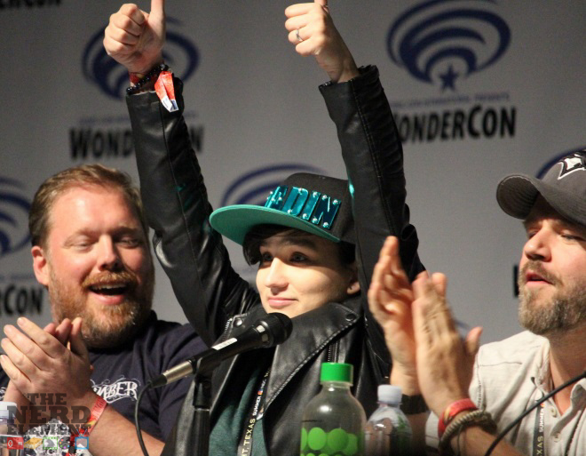 Writer Tim Hendrick, actors Bex Taylor-Klaus and Tyler Labine at the Voltron Panel