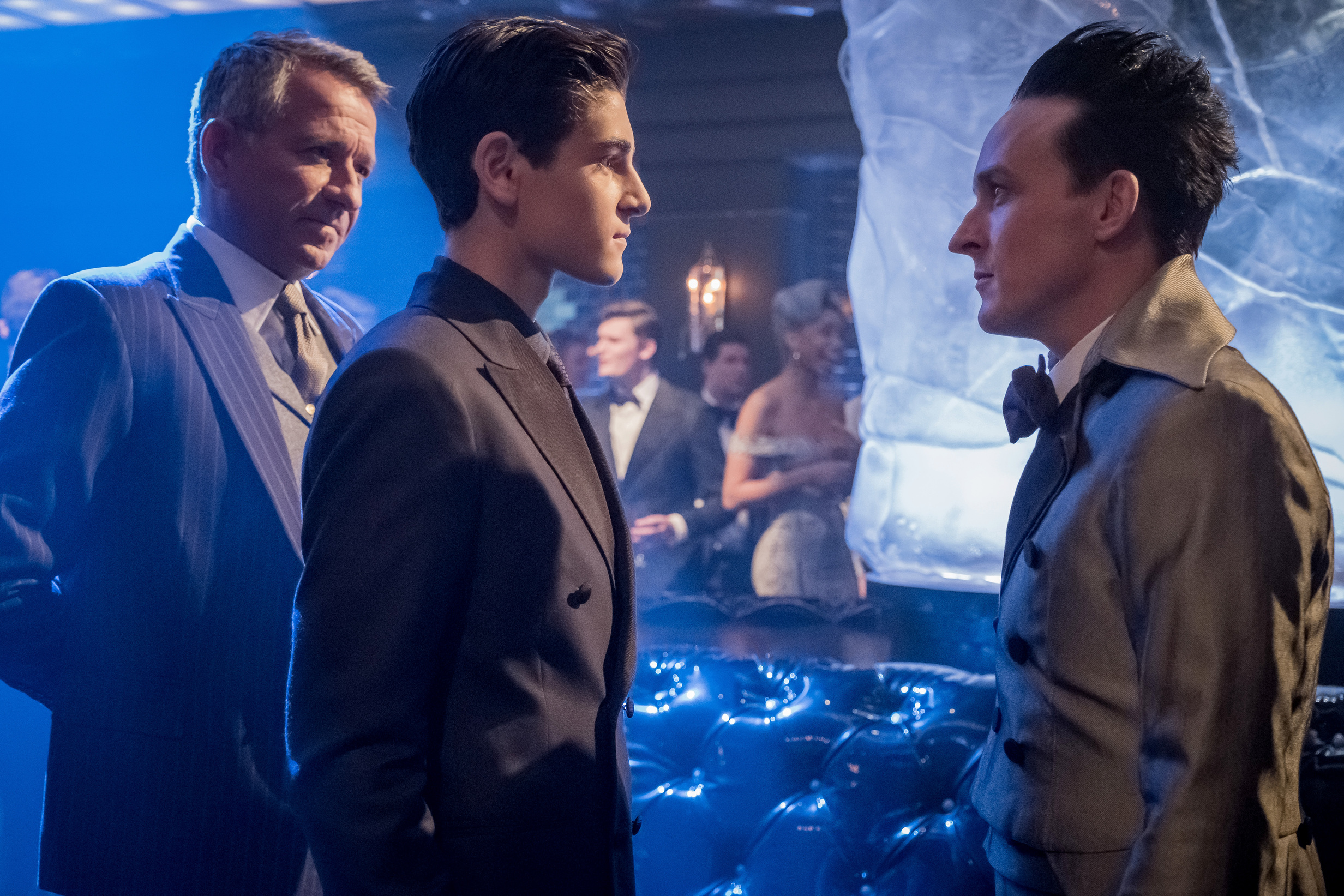 "L-R: Sean Pertwee, David Mazouz and Robin Lord Taylor in the ""Pax Penguina"" season premiere episode of GOTHAM  ©2017 Fox Broadcasting Co. Cr: Jeff Neumann/FOX."