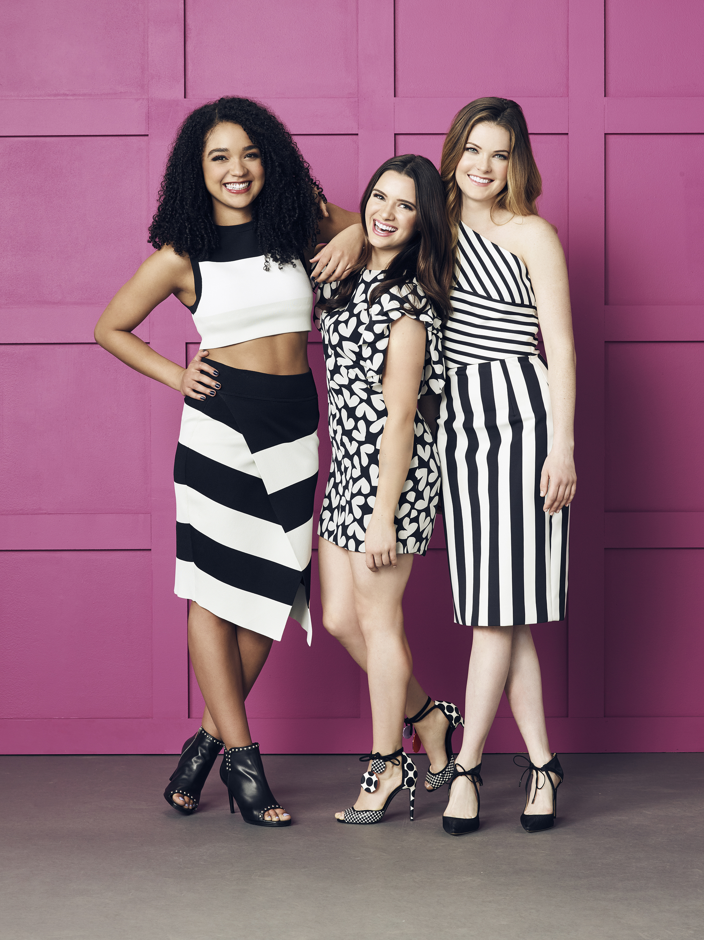 "THE BOLD TYPE - Freeform ""The Bold Type"" stars Aisha Dee as Kat Edison, Katie Stevens as Jane Sloan, Meghann Fahy as Sutton Brady. (Freeform/Justin Coit)"