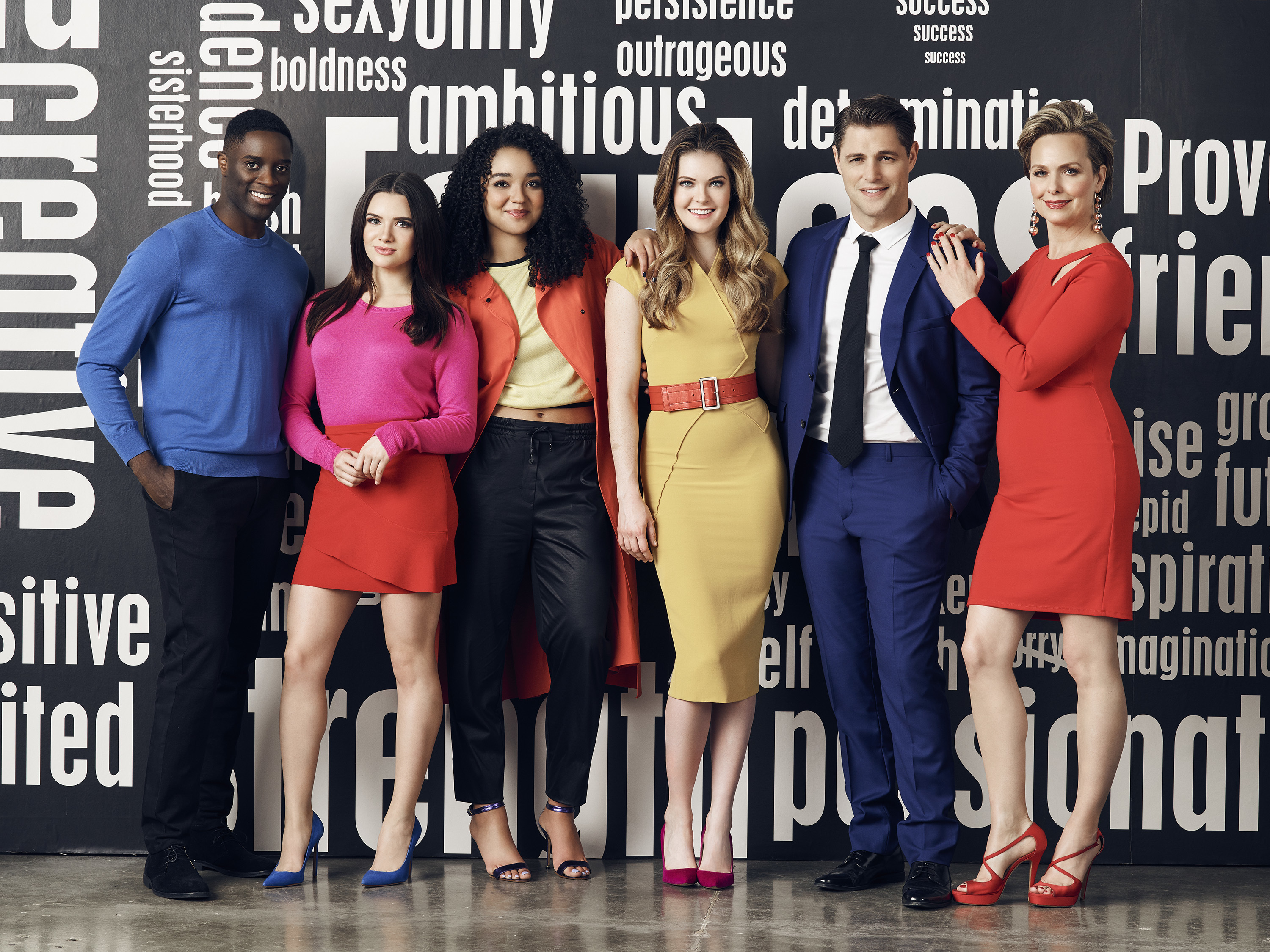 "THE BOLD TYPE - Freeform's ""The Bold Type"" stars Matt Ward as Alex Crawford, Katie Stevens as Jane Sloan, Aisha Dee as Kat Edison, Meghann Fahy as Sutton Brady, Sam Page as Richard Hunter, and Melora Hardin as Jacqueline Carlyle. (Freeform/Justin Coit)"