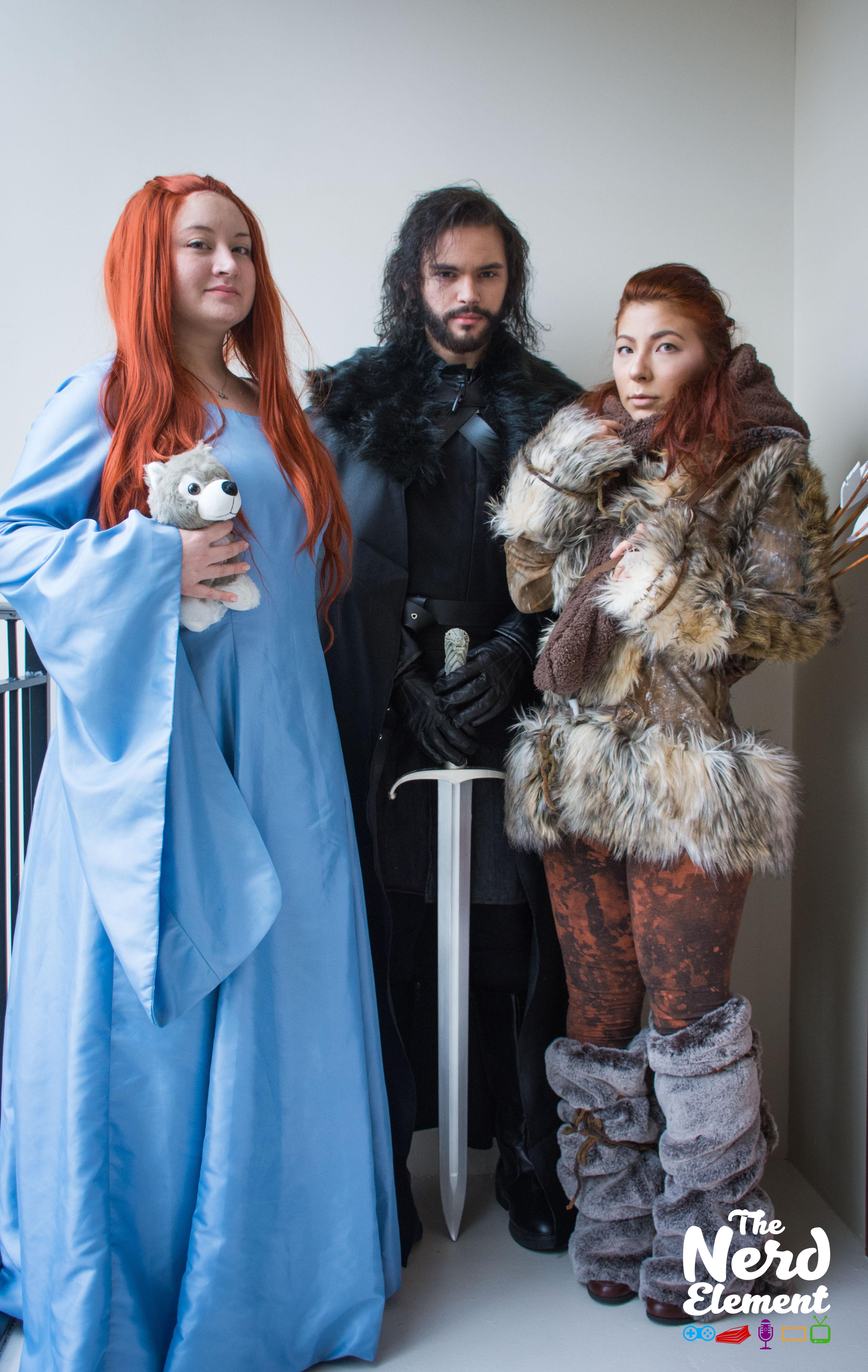Sansa, Jon Snow, and Ygritte - Game of Thrones Cosplayers: _autumnhana (ig), kradenine (ig/fb), and inkmonsterdraws (ig/fb)